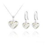 Wholesale Heart 14mm/10mm Silver Jewelry Set with Swarovski Crystal - White