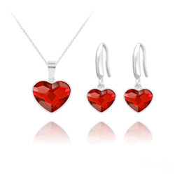 Wholesale Heart 14mm/10mm Silver Jewelry Set with Swarovski Crystal
