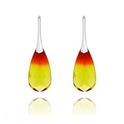 Boucles d'Oreilles Larme 24MM en Argent et Cristal Fire Opal