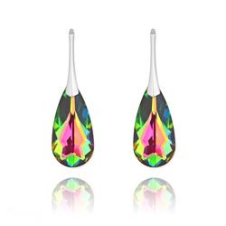 Boucles d'Oreilles Larme 24MM en Argent et Cristal Vitrail Medium