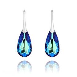 Boucles d'Oreilles Larme 24MM en Argent et Cristal Bleu Bermude