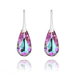 Boucles d'Oreilles Larme 24MM en Argent et Cristal Vitrail Light