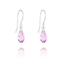 Boucles d'Oreilles Briolette 11MM en Argent et Cristal Light Rose