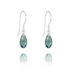 Boucles d'Oreilles Briolette 11MM en Argent et Cristal Denim Blue