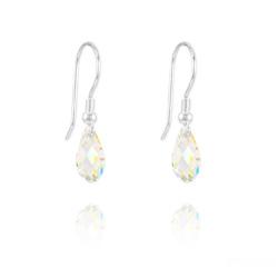 Boucles d'Oreilles Briolette 11MM en Argent et Cristal Aurore Boréale