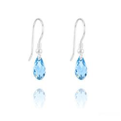 Boucles d'Oreilles Briolette 11MM en Argent et Cristal Bleu
