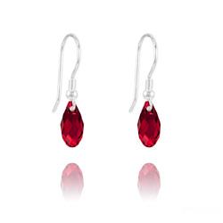 Boucles d'Oreilles Briolette 11MM en Argent et Cristal Rouge Siam