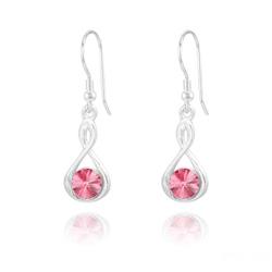 Boucles d'Oreilles Infinity Rivoli en Argent et Cristal Light Rose