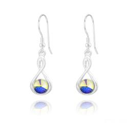 Boucles d'Oreilles Infinity Rivoli en Argent et Cristal Aurore Boréale