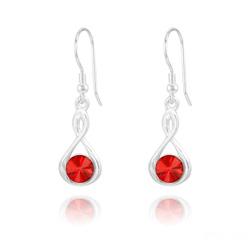Boucles d'Oreilles Infinity Rivoli en Argent et Cristal Rouge Light Siam