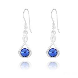 Boucles d'Oreilles Infinity Rivoli en Argent et Cristal Bleu Saphir