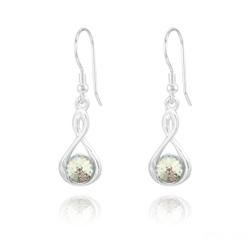 Boucles d'Oreilles en Cristal et Argent Boucles d'Oreilles Infinity Rivoli en Argent et Cristal White Patina