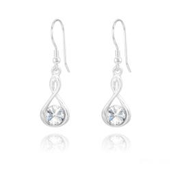 Boucles d'Oreilles Infinity Rivoli en Argent et Cristal Blanc