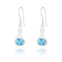 Boucles d'Oreilles Infinity Rivoli en Argent et Cristal Bleu