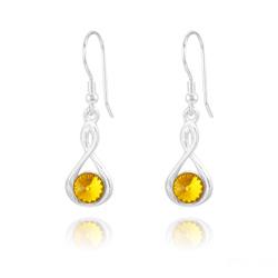 Boucles d'Oreilles Infinity Rivoli en Argent et Cristal Sun Flower