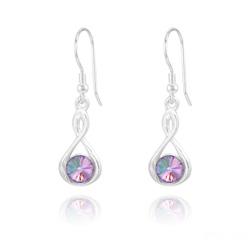 Boucles d'Oreilles Infinity Rivoli en Argent et Cristal Vitrail Light