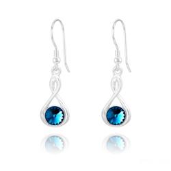 Boucles d'Oreilles Infinity Rivoli en Argent et Cristal Bleu Bermude
