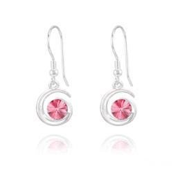 Boucles d'Oreilles Spirale Rivoli en Argent et Cristal Rose