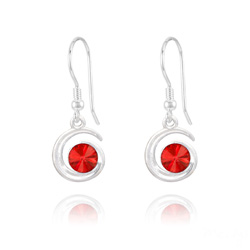 Boucles d'Oreilles Spirale Rivoli en Argent et Cristal Rouge Light Siam