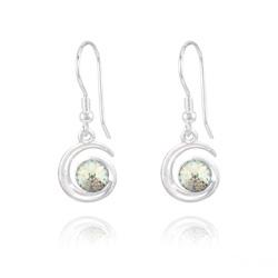 Boucles d'Oreilles en Cristal et Argent Boucles d'Oreilles Spirale Rivoli en Argent et Cristal White Patina