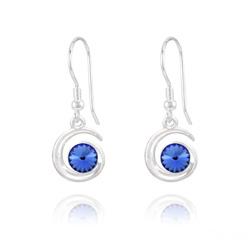 Boucles d'Oreilles Spirale Rivoli en Argent et Cristal Bleu Saphir