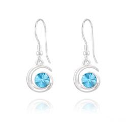 Boucles d'Oreilles Spirale Rivoli en Argent et Cristal Bleu