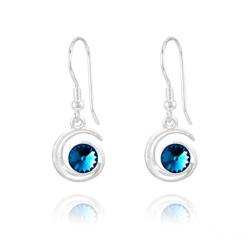 Boucles d'Oreilles Spirale Rivoli en Argent et Cristal Bleu Bermude