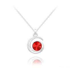 Collier Spirale Rivoli en Argent et Cristal Rouge Light Siam
