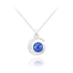 Collier Spirale Rivoli en Argent et Cristal Bleu Saphir