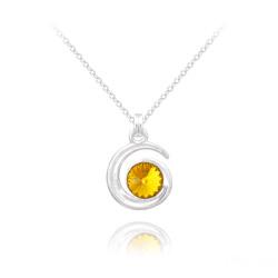 Collier Spirale Rivoli en Argent et Cristal Sun Flower