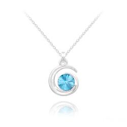 Collier Spirale Rivoli en Argent et Cristal Bleu