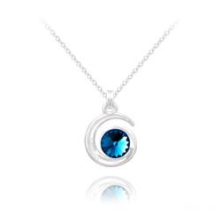 Collier Spirale Rivoli en Argent et Cristal Bleu Bermude