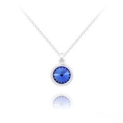 Collier Mini Rivoli 6MM en Argent et Cristal Bleu Saphir