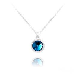 Collier Mini Rivoli 6MM en Argent et Cristal Bleu Bermude