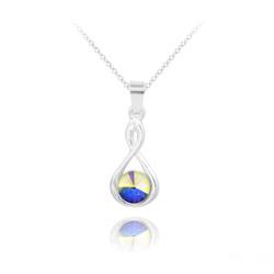 Collier Infinity Rivoli en Argent et Cristal Aurore Boréale
