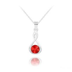 Collier Infinity Rivoli en Argent et Cristal Rouge Light Siam