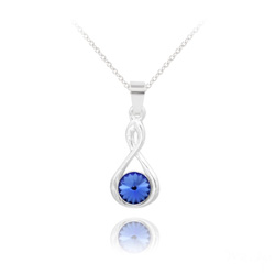 Collier Infinity Rivoli en Argent et Cristal Bleu Saphir