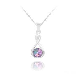 Collier Infinity Rivoli en Argent et Cristal Vitrail Light
