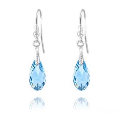 Boucles d'Oreilles en Cristal et Argent Boucles d'Oreilles Briolette 17mm en Argent et Cristal Bleu