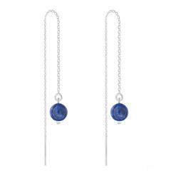 Chaînes d'Oreilles en Argent et Pierres Naturelles 6MM - Lapis Lazuli