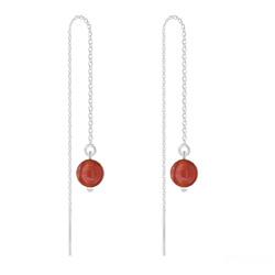 Chaînes d'Oreilles en Argent et Pierres Naturelles 6MM - Agate Rouge