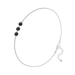 Bracelet en Argent et 3 Pierres Naturelles 4MM - Onyx