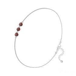 Bracelet en Argent et 3 Pierres Naturelles 4MM - Jaspe Rouge