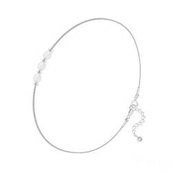 Bracelet en Argent et 3 Pierres Naturelles 4MM - Jade Blanc