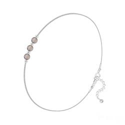 Bracelet en Argent et 3 Pierres Naturelles 4MM - Agate Grise
