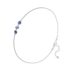 Bracelet en Argent et 3 Pierres Naturelles 4MM - Sodalite