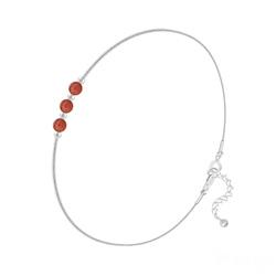Bracelet en Argent et 3 Pierres Naturelles 4MM - Agate Rouge