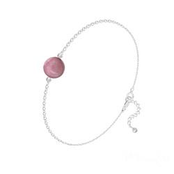 Bracelet Perle Ronde 8mm en Argent et Pierre Naturelle - Rhodonite