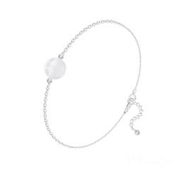 Bracelet Perle Ronde 8mm en Argent et Pierre Naturelle - Jade Blanc