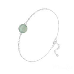 Bracelet Perle Ronde 8mm en Argent et Pierre Naturelle - Aventurine